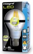 Dimmable Filament LED | 60W Equivalent Bulb | B22 Bayonet | Integral LED
